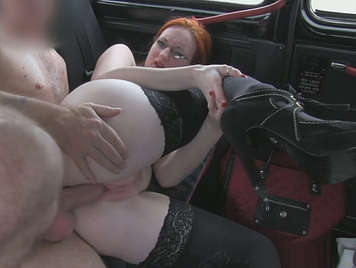 Busty natural redhead with pink and soft pussy fucking in a taxi and just _ filled with a thick stream of hot milk