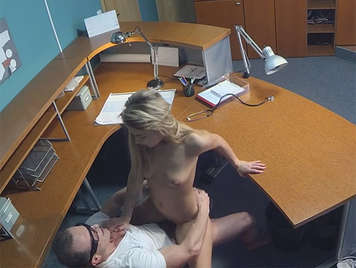 He recorded with a hidden camera in the waiting room, a beautiful blonde fucks with sweet little breasts like honey, shaking ass getting a cumshot of thick sperm in her tight pussy