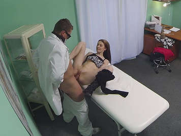 Young lady goes to the doctor carrying a camera hidden in his glasses, grasped by the waist fucks digging cock to the balls and cumming in her face