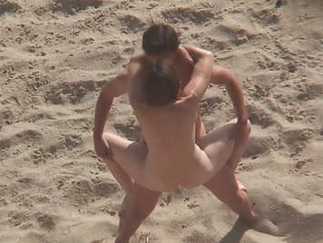 Acrobatic sex at the nudist beach with internal ejaculation taxed by a vicious and morbid voyeur