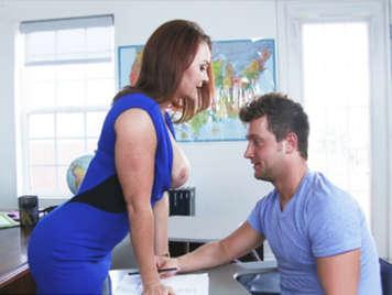 MILF teacher leads his pupil redhead with big tits