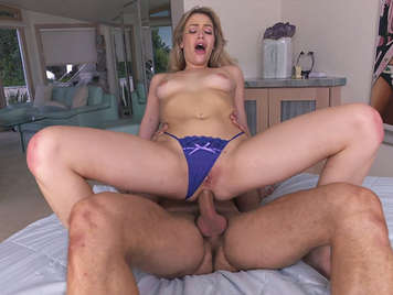 Fucking him in the her ass and my sweet blonde Malkova and cumshot on their feet after having broken her ass hole
