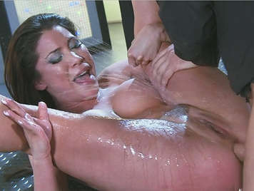Busty and vicious brunette pussy squirts when fucked hard by her beautiful ass hole