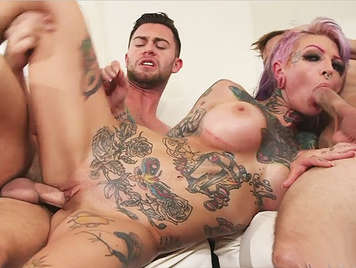 First scene and a double anal penetration with busty blonde entire body tattooed and shaved pussy
