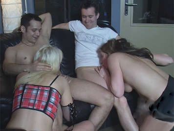 Orgy with two lovebirds swingers they love cock sucking and fuck them their wet pussies
