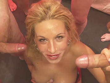 Bukkake first of a blonde fucking and sucking, eleven cocks cum on her face and over her naked body filling her mouth with sperm avalanches