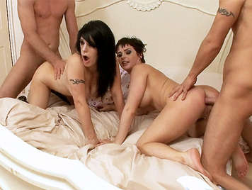 Amateur sexual quartet practicing anal sex dirty they just cumming, between her tits of his two wives whores