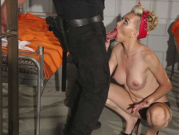 Pin Up Girl fucking in prison with a police officer who cum in his the mouth of crimson red lips