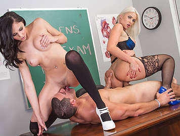 Two horny teachers doing an oral examination to a student with a fat cock full of cum to their mouths
