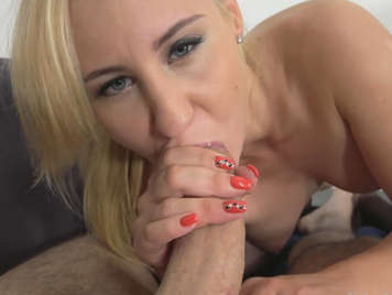 Blonde slut fucks on the couch with a fake agent