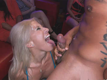 In the bachelorette party busty blonde eats his cock, to the boy dancer putting it to the bottom of their deep throat and he ejaculates on her face