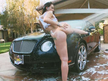 A assed Little Vixen, cleaning the car, her ass fucked filling her face with a spectacular facial cumshot