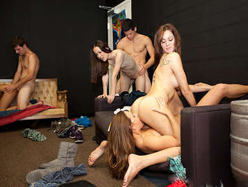 Geeks university organized an orgy in the basement of the house