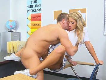 Sexy tenn schoolgirl fucking on the table on all fours was cum over her ass