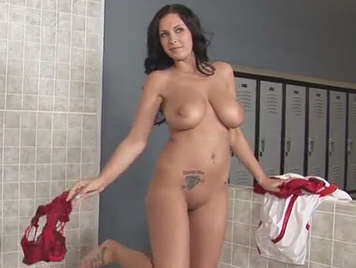 Busty fucks coach in the locker room of the gym