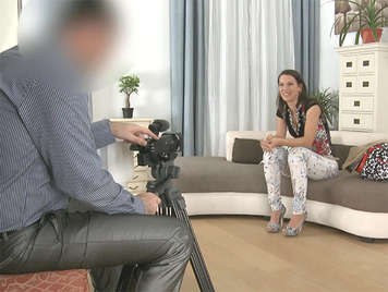 A young student in a fake porn casting