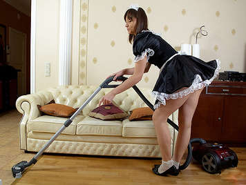 Anal sex with a cute french maid that swallows cum an clean the balls with her tonge