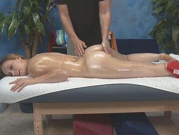 Hard sex on massage table