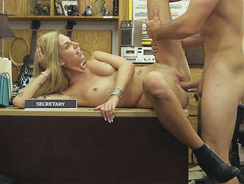 A dependent bastard hiding cameras in the backroom and fucks a assed blonde until he cums in her mouth of cocksucker