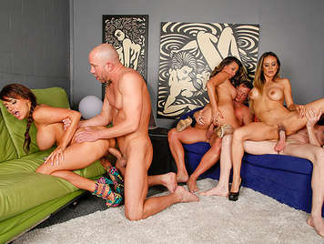 Swingers party as bitches fucking tits are swaying while fucking