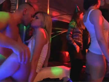 Horny sex at the club with lot of hot girls