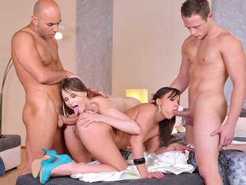 A quartet improvises a little Orgy with two amazing College Girls who love the hard sex and the hot cum