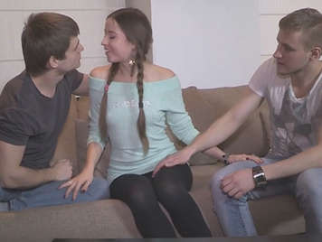 threesome with Russian Taissia Shanti with pigtails