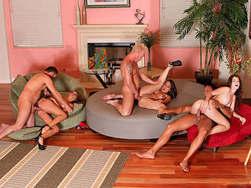 Singles party an orgy of swingers fucking wildly, rubbing their pussies and their asses filled with hard cocks