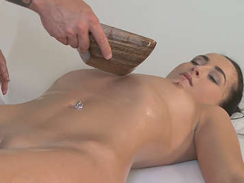 A massage ends in sex on the massage table
