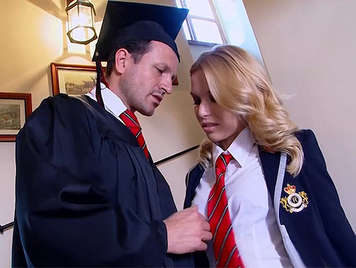Wet dreams of a teacher with the students of the boarding school, a blonde schoolgirl fucking and filling her pussy with a spectacular cumshot