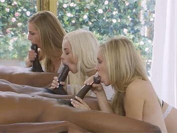 Three black cocks fucking three horny blondes