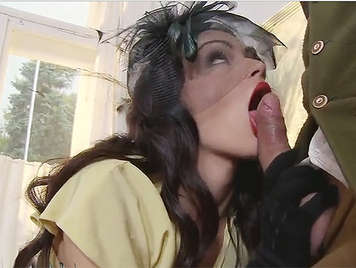 Posh girl in horse racing rides a cock stuck in her ass
