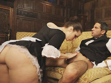 French maid assed fucking with the butler