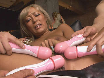 Japanese hooker enjoying than four dildos in her pussy and cum on her face