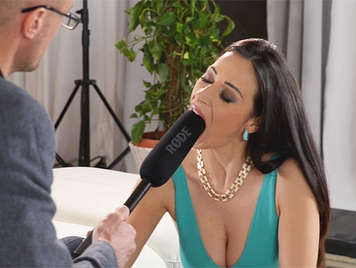 Busty Italian Milf in a very hot interview