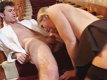 The Headmaster's Punish to her naughty student in the stairs of his home with his big dick