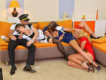 French maid fucking a plane pilot and two flight attendants horny