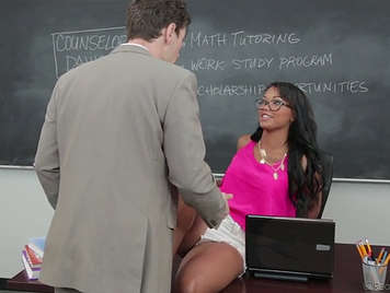Naughty student is caught and fucked by her teacher in the classroom