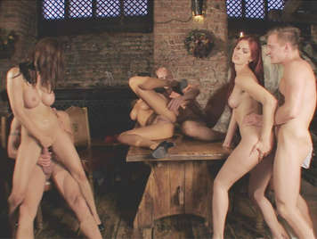 Orgy in the village tavern, hot waitresses offer their asses to customers