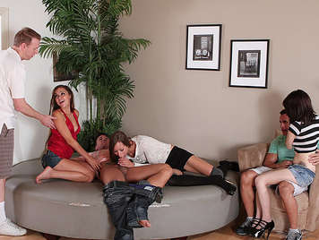 Singles orgy of a round bed