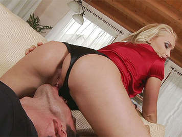 Beautiful blonde in thong sucking cock and riding a huge cock