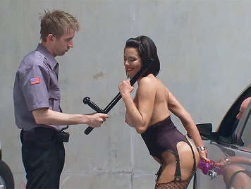 A policeman with a big cock, bugger screws a busty hot milf exhibitionist in a parking