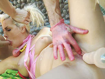 extreme sex, abusing a buxom blonde who squirts like a bitch