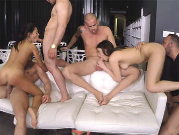The first gangbang of Apolonia Lapiedra and Penelope Cum