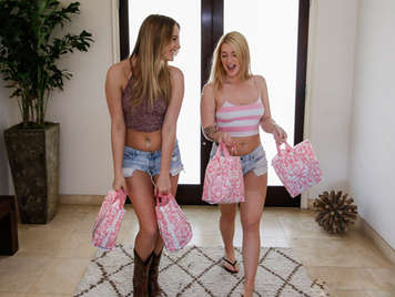 Day shopping sexy lingerie ends with a good lesbian sex