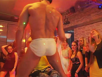 In the bachelorette party, the babes get the facial cumshots of the Strippers