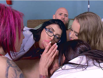 Four female doctors with big tits, fighting for the huge cock, of a patient with shaved chest